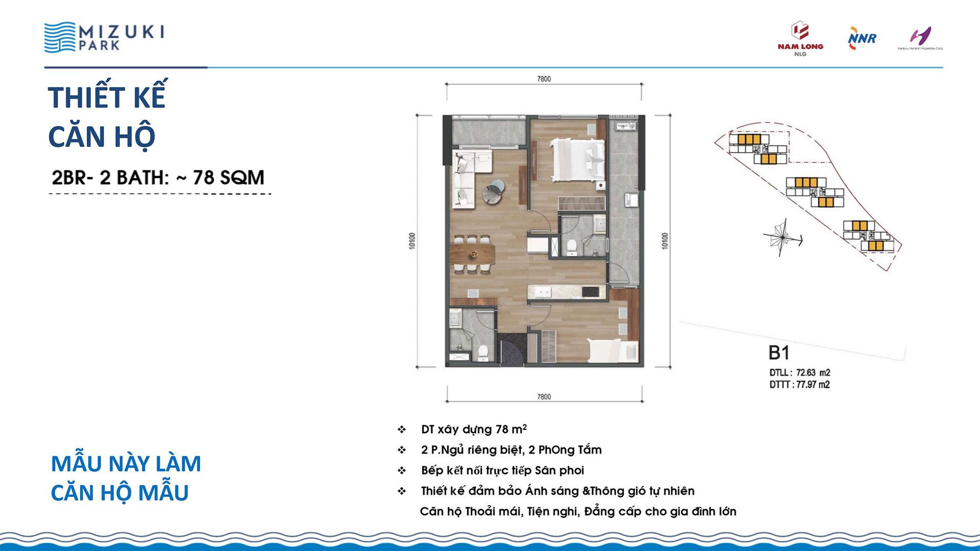 Thiết kế căn hộ Mizuki Park 78m2