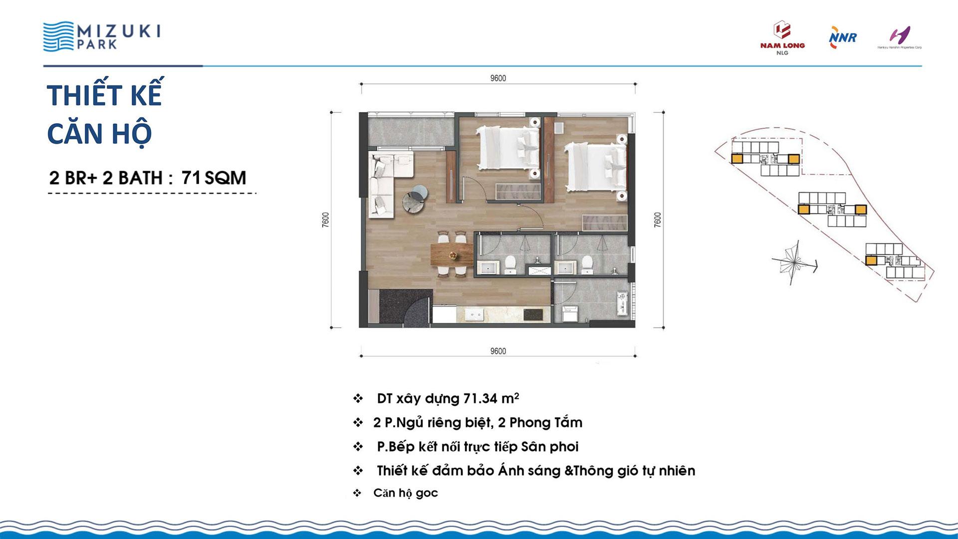 Thiết kế căn hộ Mizuki Park 71m2