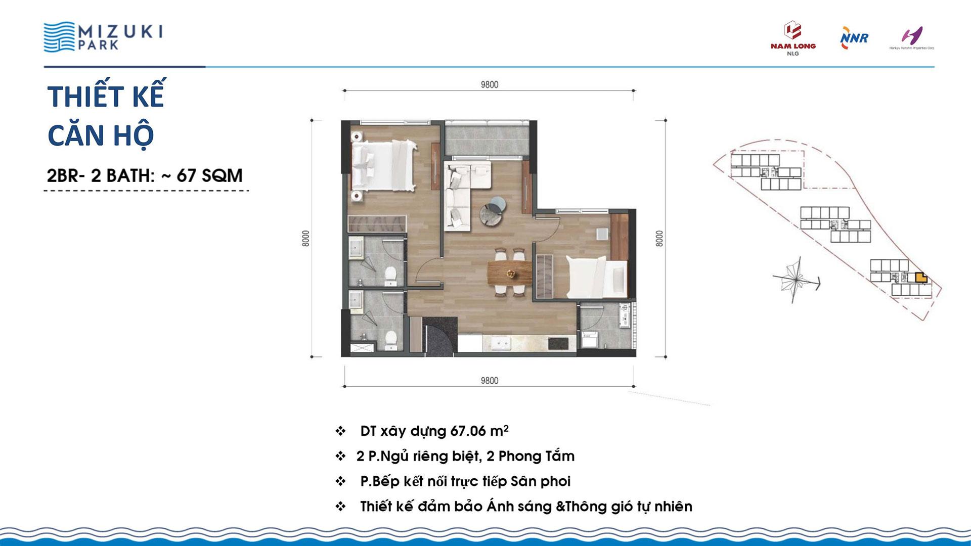 Thiết kế căn hộ Mizuki Park 67m2