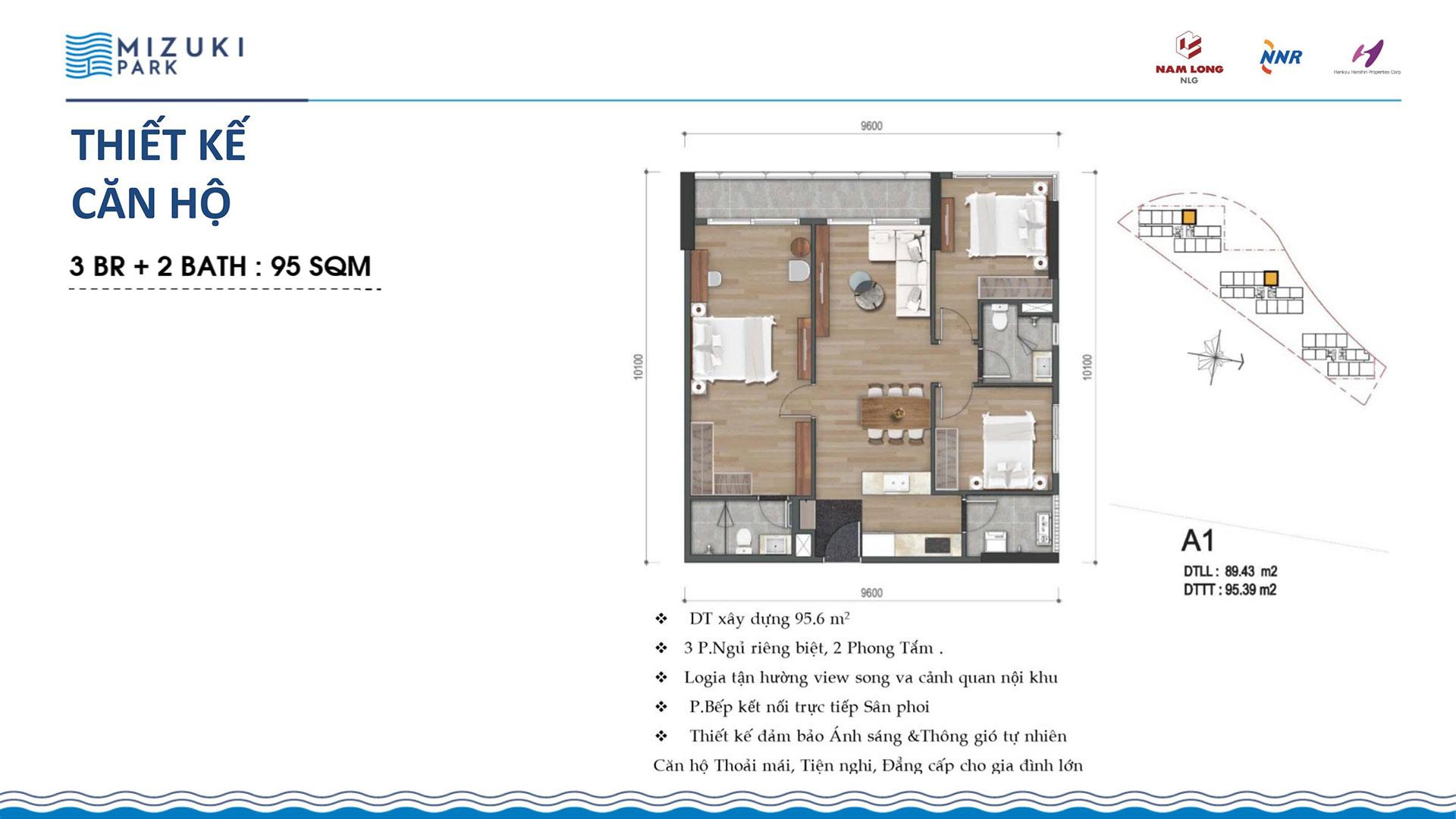 Thiết kế căn hộ Mizuki Park 95m2