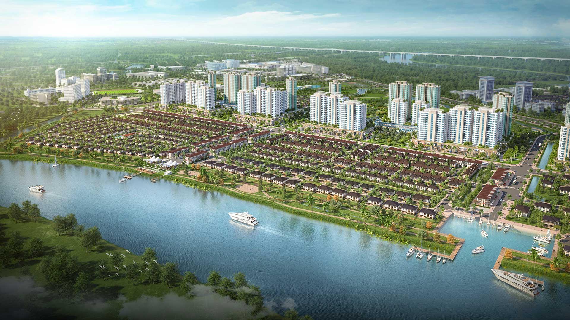 Phân khu Rivera với các căn dinh thự, grand villa hướng tầm nhìn tuyệt mỹ ra sông Vàm Cỏ Đông