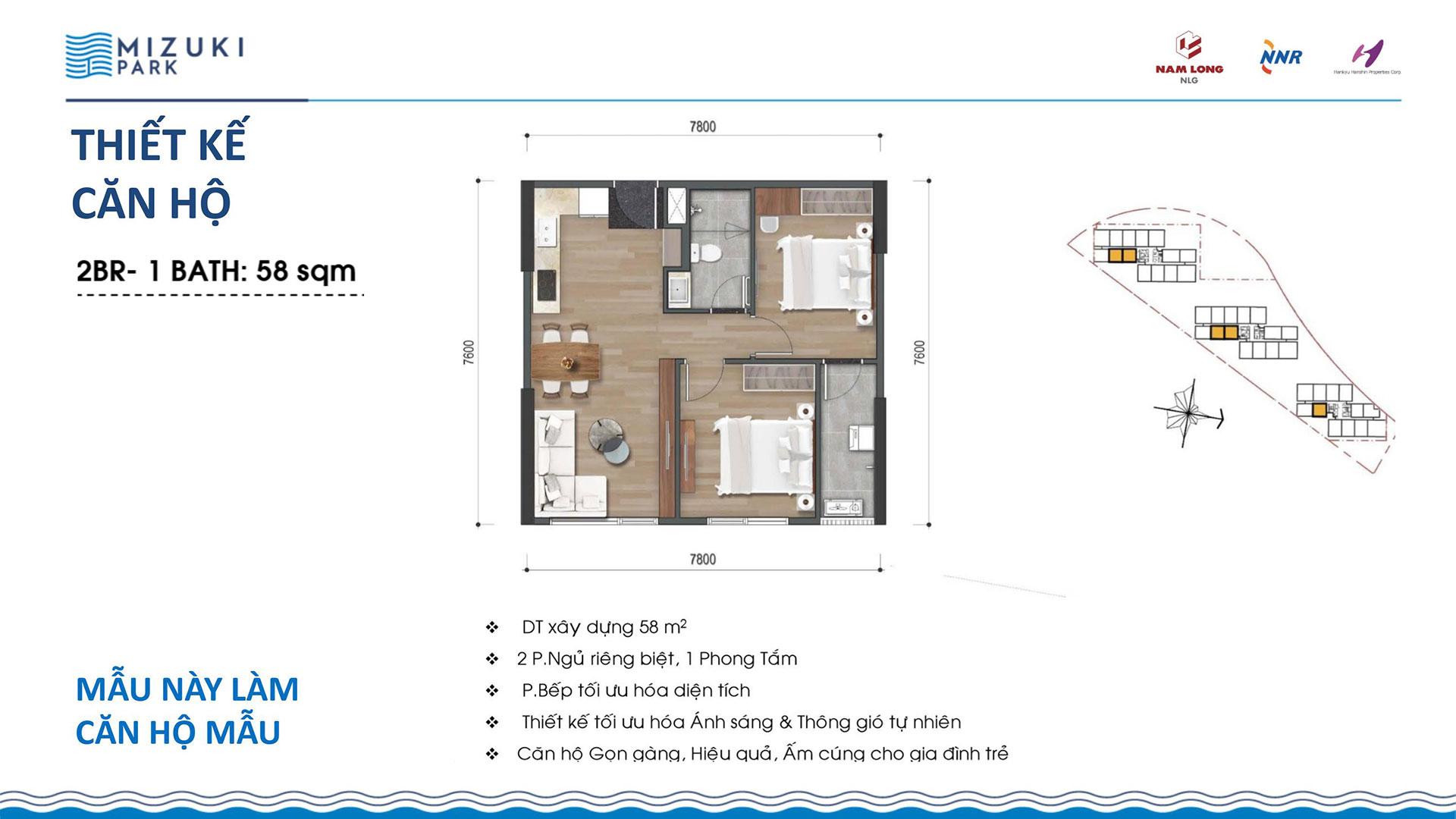 Thiết kế căn hộ Mizuki Park 58m2