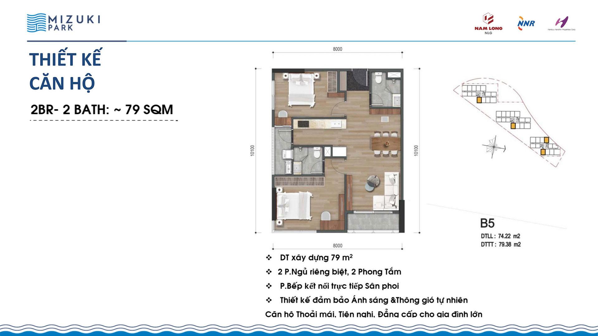 Thiết kế căn hộ Mizuki Park 79m2