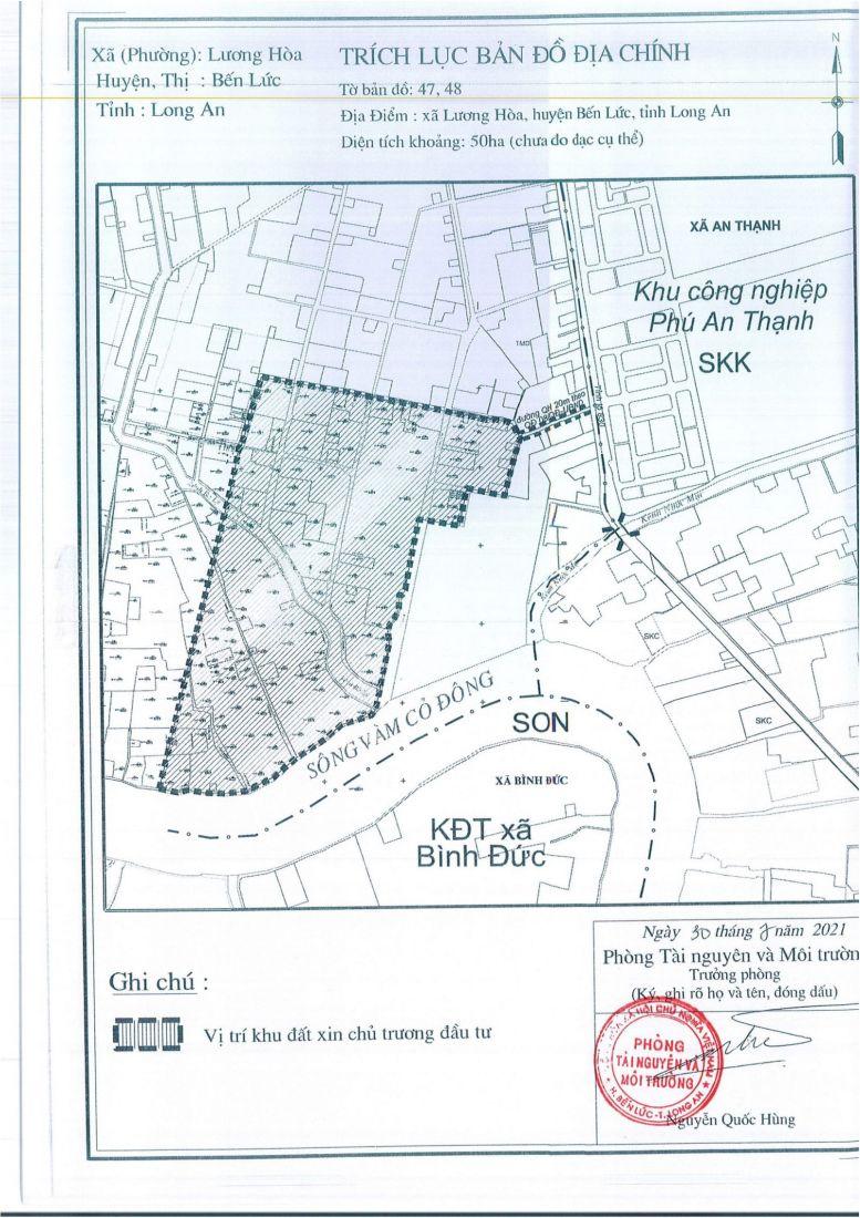 Trích lục bản đồ địa chính Trung tâm logistics 50ha. Ảnh: Cổng thông tin điện tử Long An