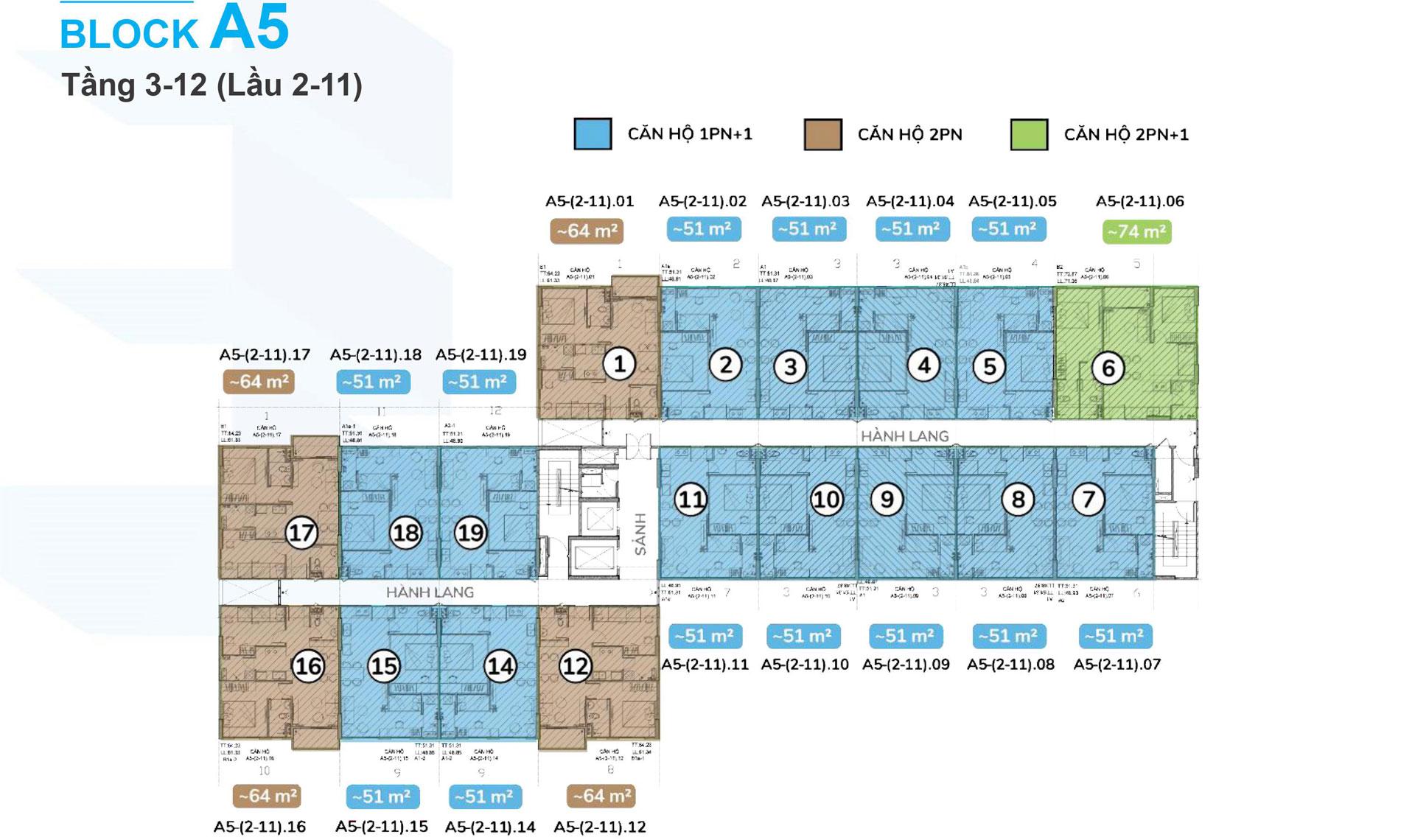 Mặt bằng tầng 3-12 Blockc A5 Ehome Southgate 01