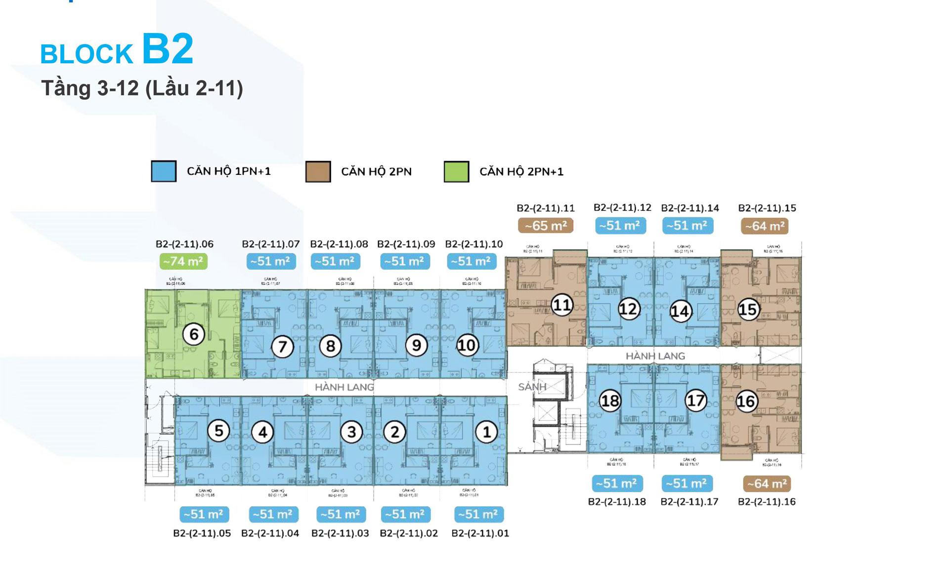 Mặt bằng tầng 3-12 block B2 lầu 1 Ehome Southgate 01