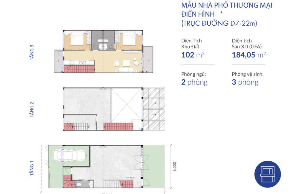 Thiết kế nhà phố thương mại Waterpoint Nam Long 22m