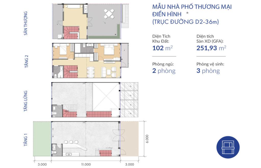 Thiết kế nhà phố thương mại Waterpoint Nam Long 36m